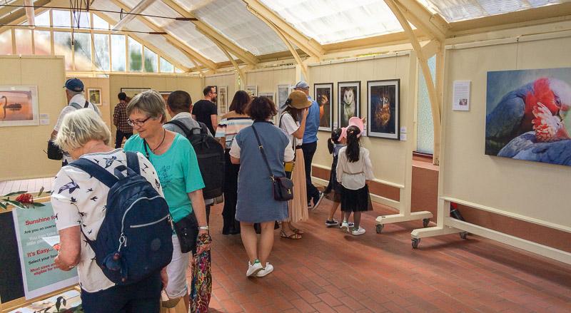 Many tourists and visitors to the Noble Spirit exhibition at Palm House, Royal Botanic Garden Sydney, Australia.